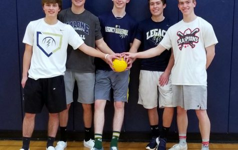 The team Average Joe's won Wednesday's 80s Dodgeball Tournament. The team included, left to right, Macully Sehr, Ashton Kerr, Dylan Grierson, John Mari, and Blake Labuda
