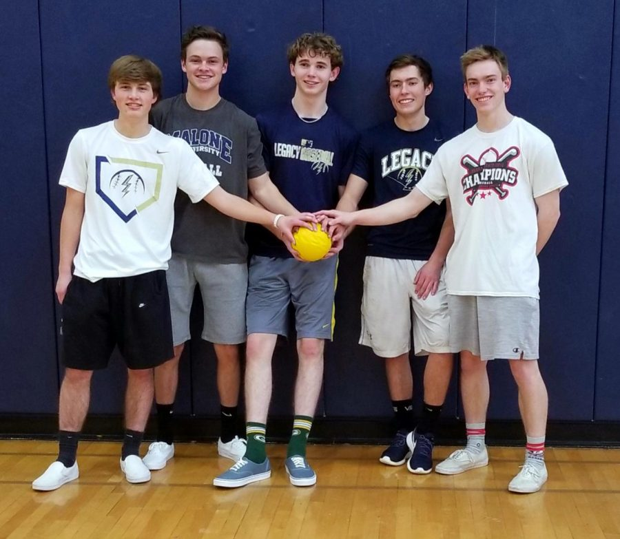 The team Average Joes won Wednesdays 80s Dodgeball Tournament. The team included, left to right, Macully Sehr, Ashton Kerr, Dylan Grierson, John Mari, and Blake Labuda