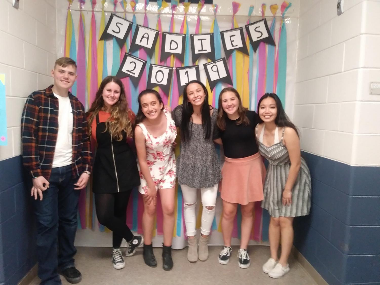Julia Miranda, Anna Sosa, Kayla Stanley, Liliana Maldonado, Samantha Rich, and Jacob Scheer pose for a photo at the Spring Dance.