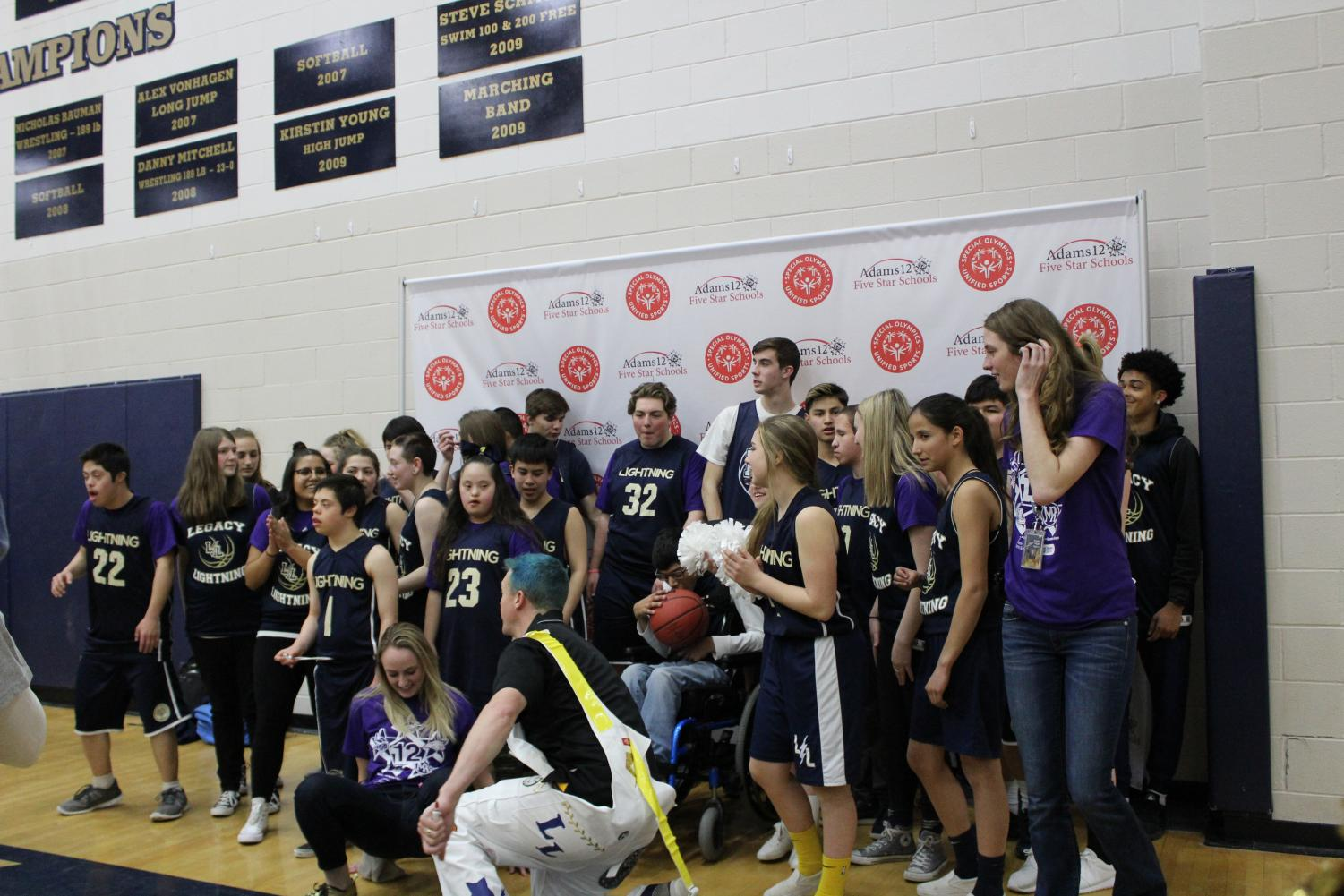 Legacy's Unified team poses for a photo after winning their game against Northglenn.